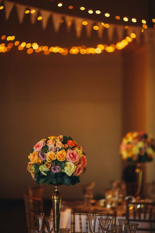 Multi Coloured Rose ball - Gold Candelabra. Gold Tiffany Chairs. Cream & Lace Bunting. Fairy Lights.  Wedding planning, Coordination, Décor, Flowers & Set-up by Natural Nostalgia