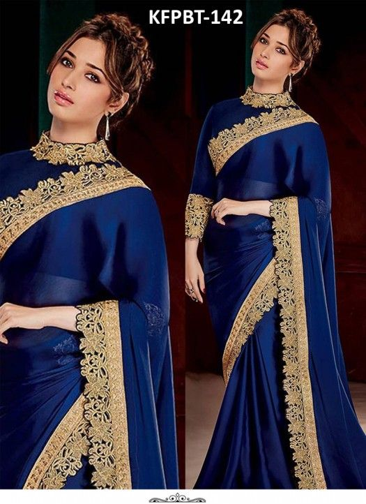 Tamanna Bhatia Blue Satin Silk Heavy Replica Saree                                                                                                                                                                                 More
