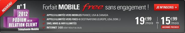 Offre mobile Free : Forfait mobile illimité à 19€99/mois