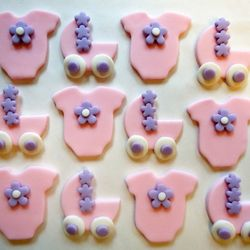 Baby Girl-baby cupcake toppers, via Cakes and Kids