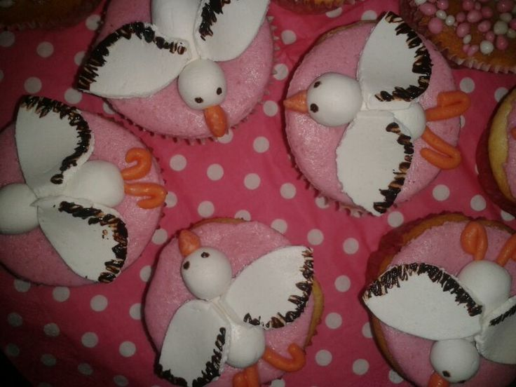 Geboorte cupcakes ooievaar meisje