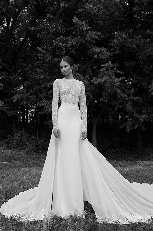 Simply elegant long sleeves wedding dress. Berta, Winter 2014