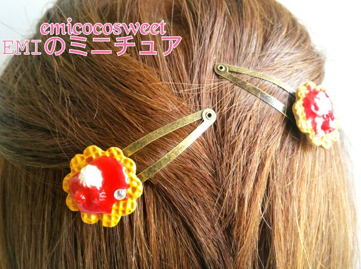 Cute Hair Clip,Food Jewellery,Waffle hair clip,miniature food in Clothing, Shoes, Accessories, Women's Accessories, Hair Accessories   eBay
