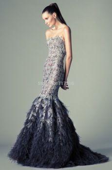 Exquis sirène robes de soirée Sexy bretelles Graceful appliques robe dos nu , fait sur mesure plumes élégantes robes formelles