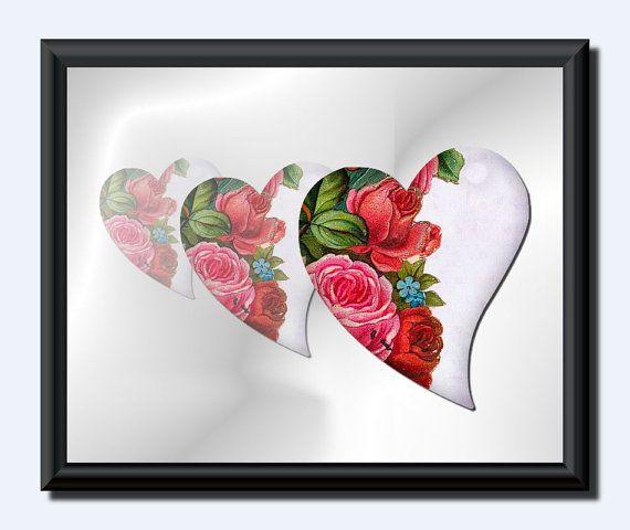 3 Hearts .Valentine .  Love Print . Instant by JohshiDesigns, $6.50