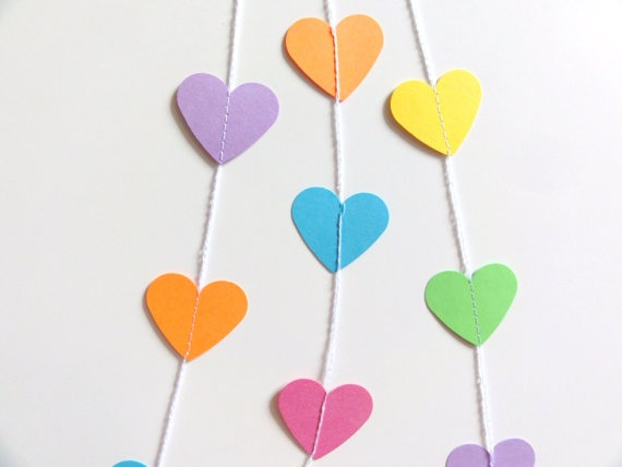 Summer Colors Paper Heart Garland Party Banner 7 by ShastaBlue, $5.00