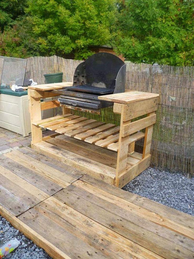 Muebles de palets: Instrucciones y planos para hacer una barbacoa con palets paso por paso