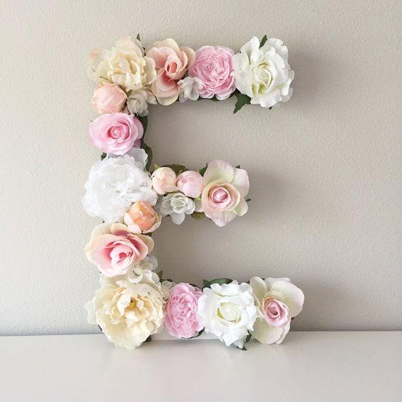 Floral Letter, Large Flower Letter, Floral Number, Custom Floral Letter Nursery, Shabby Chic Decor, Floral Monogram, Girl Christmas Gift