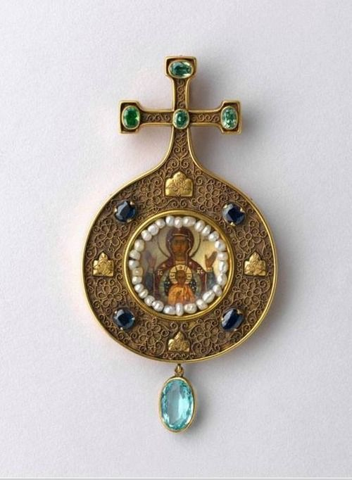 Panagia-early 20th century, Moscow, Russia. Pectoral icon worn by bishops of the Russian Orthodox Church.