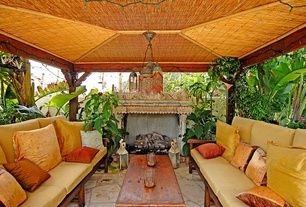 Asian Patio with Gazebo, outdoor pizza oven