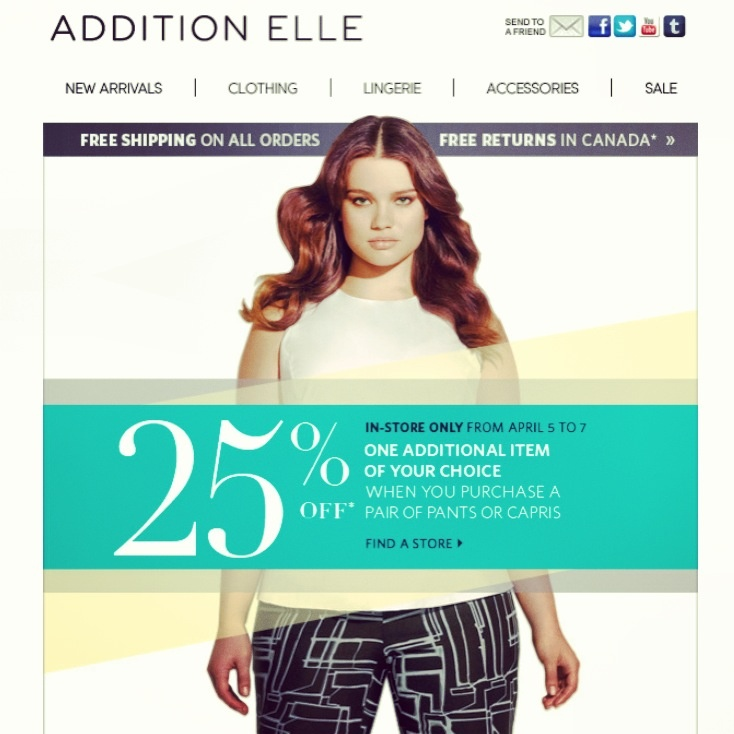Deal Alert (CDN/US): Addition Elle Get more! Buy a Bottom & Get 25% OFF Another Item In-Store. Happy Shopping! #deal #alert #additionelle #bottom #pants #shopping #plussize #women #clothing #fashion #sale