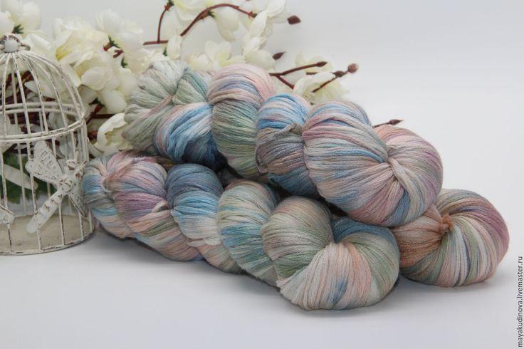 Купить Пряжа ручной окраски. 70%меринос/20%шелк/10%кашемир - комбинированный, пряжа для вязания, пряжа для вязания спицами