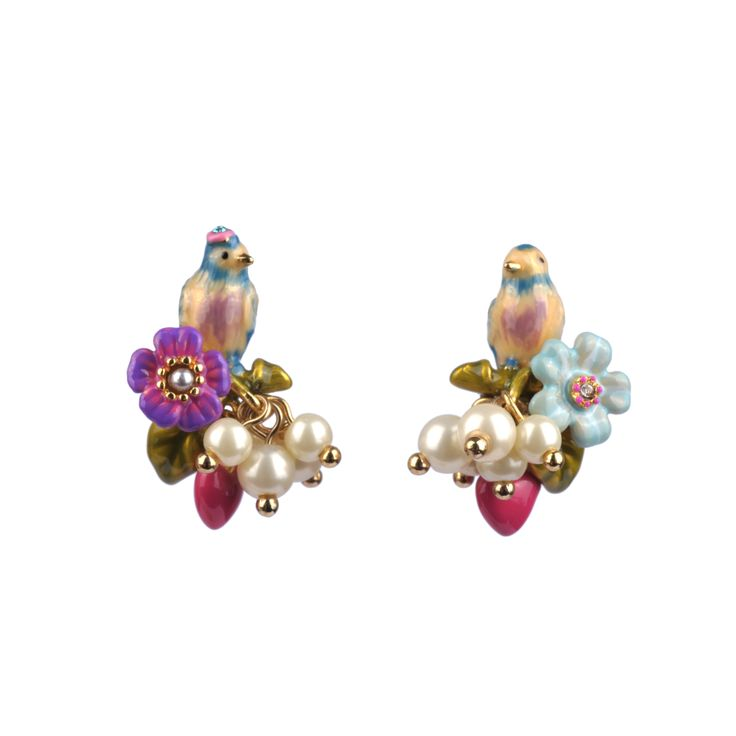 Collection Jardin d'Amour http://shop.lesnereides.com/earrings/2866-couple-of-tits-with-beads-and-little-drop-stud-earrings-3700377792283.html