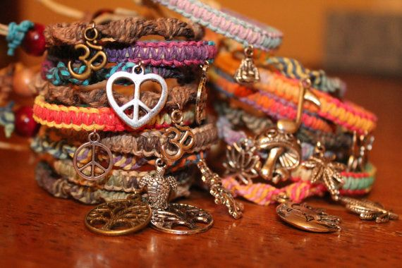 TWO Hemp friendship charm bracelets you pick 2 styles by HempHugs, $10.00