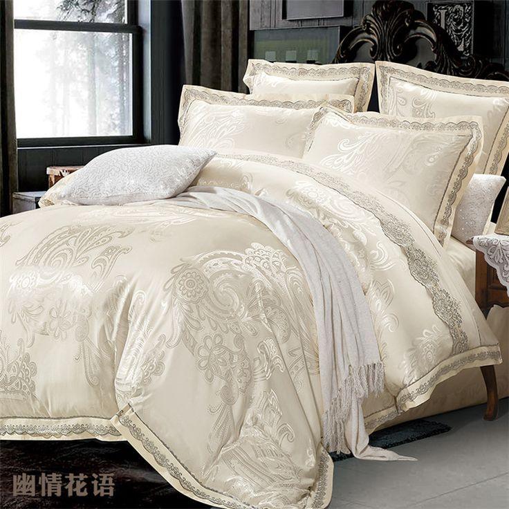 Aliexpress.com : Buy Beige Jacquard Satin Silk Bedding Set King Queen ...