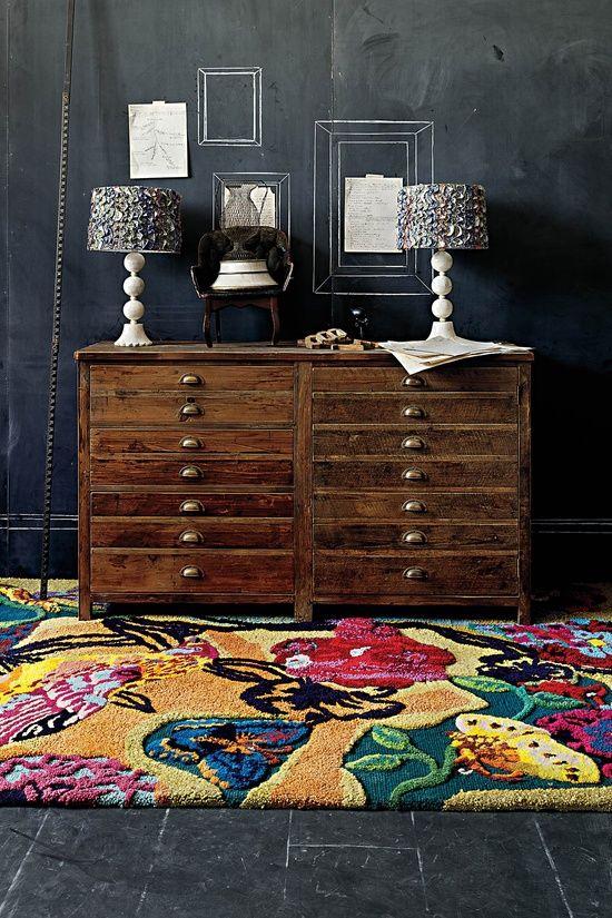 Anthropologie Home Decor Colorful Rug Wood Flat File Dresser Dark