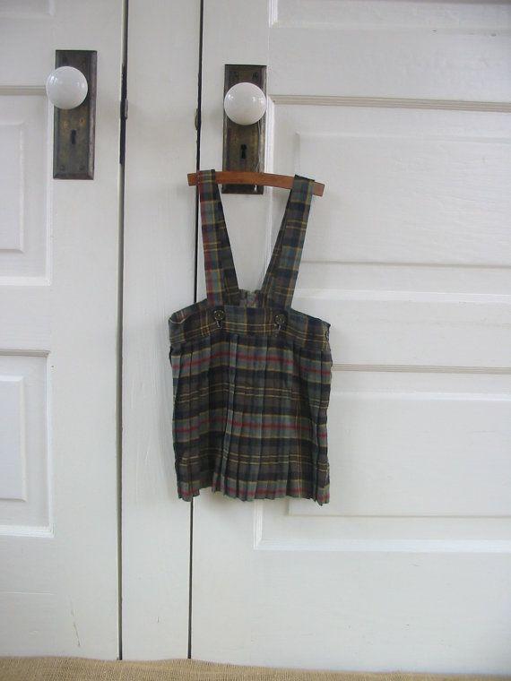 Vintage Toddler Girl Christmas Dress Jumper Skirt by vintagejane