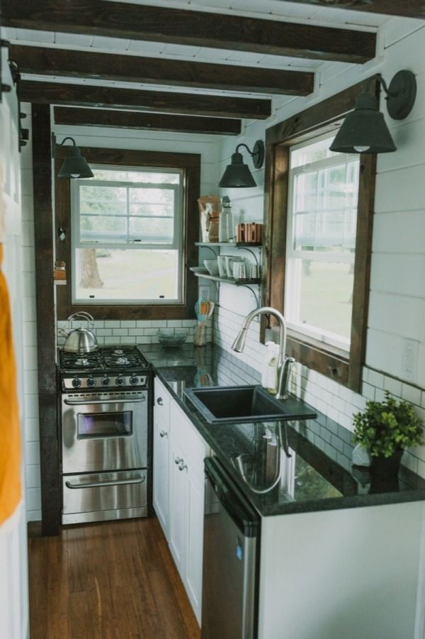 Found it! My dream kitchen, the tiny version. Tiny Heirloom: Builder of Luxury Tiny Homes on Wheels Photo