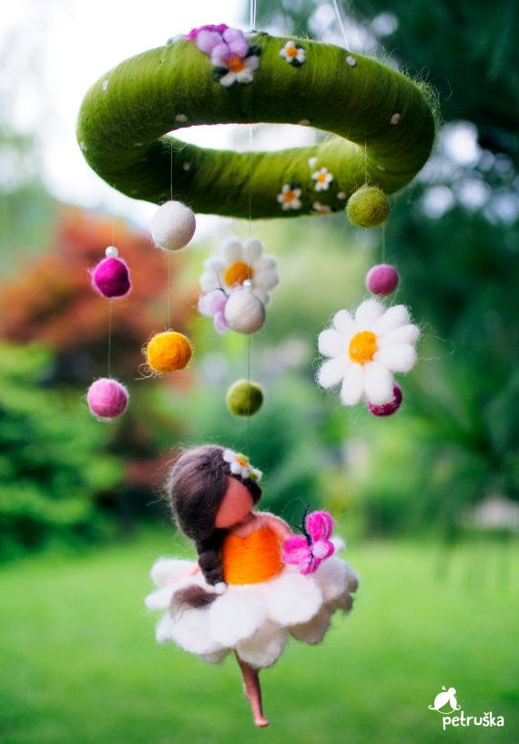 DAISY fairy, bringing JOY, flower fairy, needle felting, mobile, home decor, gift for baby,