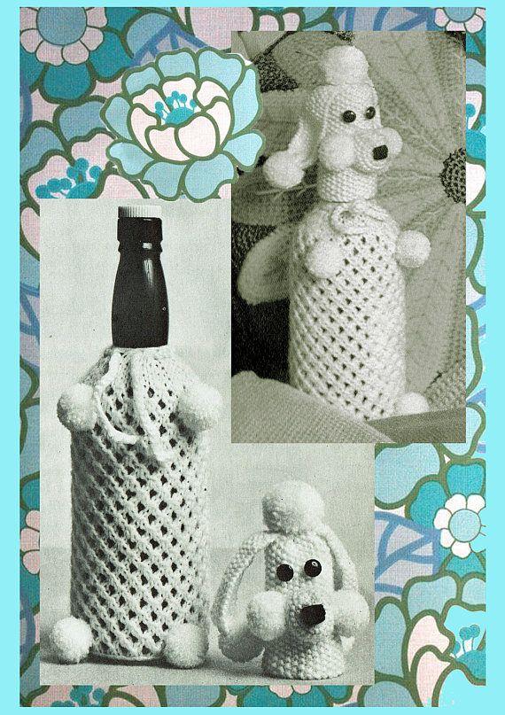 PDF Kitsch 1970s POODLE Dog Knitting Pattern  Novelty Home