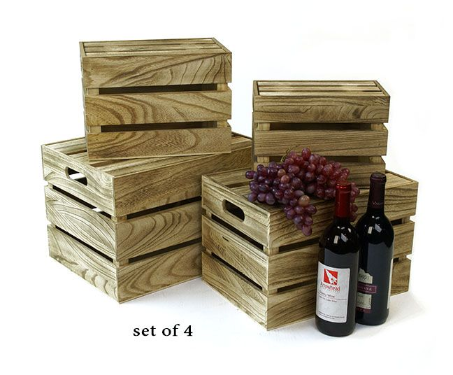 WOOD+Crate+S/4+Burnt+Finish+with+Lid