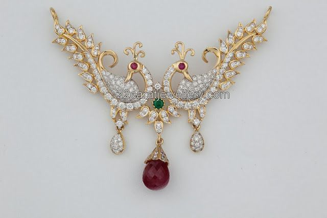 Jewellery Designs: Diamond Peacock Pendants 3