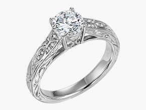 Engraved 14K White Gold Round Brilliant Cut Diamond Semi Mount Totaling 0.09 Carats Ghsi Shown With Sample Center Stone. Center Stone Sold Seperately, Available In Range Of Sizes.    Price: $959