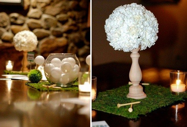 143 best fore a stylish golf party images on pinterest for Golf centerpiece ideas