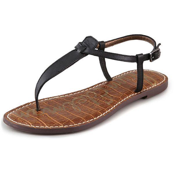Sam Edelman Gigi T Strap Flat Sandals - Black ($65) found on Polyvore