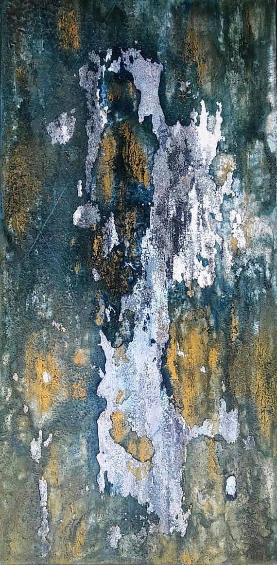 Fervent This is an original textured abstract painting by Amy Neal on 10 x 20 x 1.5 gallery-wrapped canvas. Sepia and indigo inks combine to create a moody green under highlights of metallic gold and white. Richly textured and distressed. An organic abstract with seemingly endless