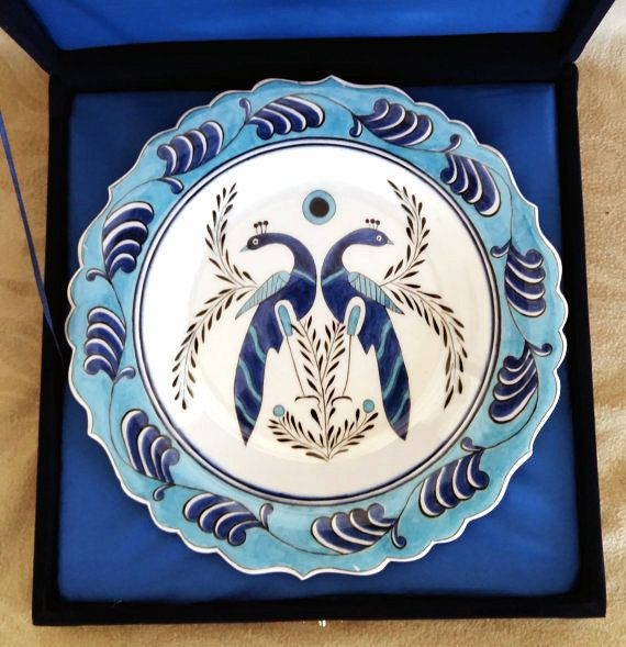 Turkish selcuk handmade dishes bird pattern by nurceramicarts