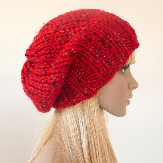 Slouchy Hat Red Hand Knit hat   Slouch beanie by SallyAnnaBoutique
