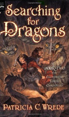 All About Middle Grade Review: Searching for Dragons (Enchanted Forest Chronicles, 2) by Patricia C. Wrede; Illustrated by Peter de Sève, November 1, 2002 (originally published 1991). 242 pages. Published by HMH Books for Young Readers. Source: Gift/Own