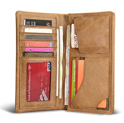 Portafoglio, ICARER [100% vera pelle] raccoglitore di affari, slot per Multi-carta, telefono cellulare compatibile, Zip Pocket Coin, affari e titolare Travel Cash First Choice. (Cachi): Amazon.it: Valigeria