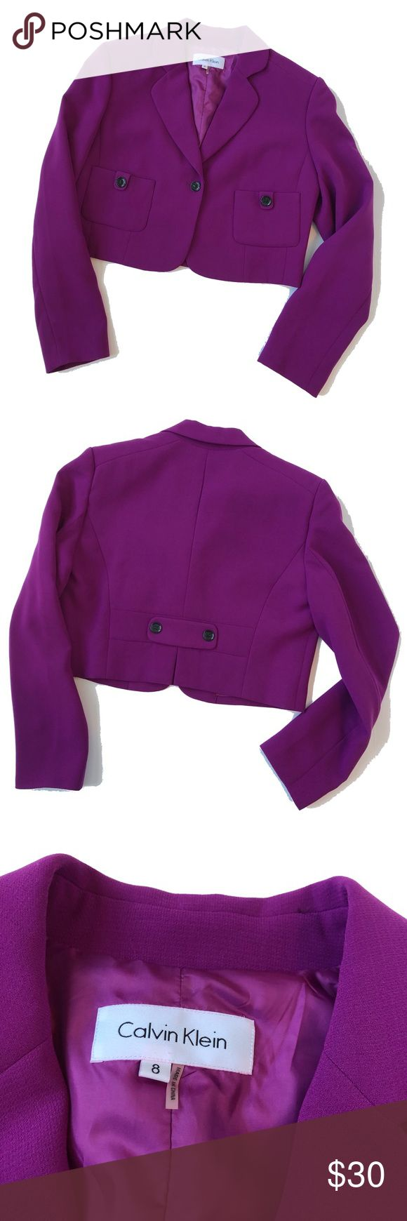 🆕Listing! Calvin Klein Cropped Blazer Size 8 This Blazer would look great with a high waisted black maxi skirt! (Check my other listings!🙂) The bright purple is a great pop of color with black buttons on the pockets. Feel free to make an offer! Calvin Klein Jackets & Coats Blazers