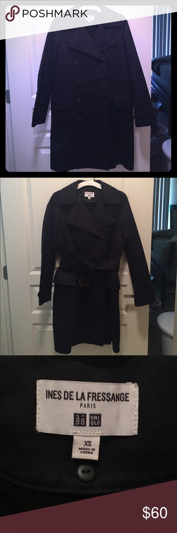 INES DE LA FRESSANGE X UNIQLO black trench coat XS Super cute and sophisticated black double breasted trench coat. Comes with belt. Back on the inside is lined with fleece and is removable. Does run a little large (IMO, can also fit S) especially without the belt so I recommend tying the belt around your waist! In excellent used condition, only worn a few times. Uniqlo Jackets & Coats Trench Coats