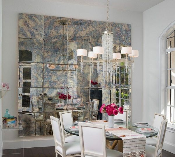 Vintage Mirror Tile Dining Room Wall Decorating Ideas Mirror Tiles Accent Wall Decor Interior D Antique Mirror Tiles Mirror Wall Tiles Antique Mirror #tiled #accent #wall #in #living #room