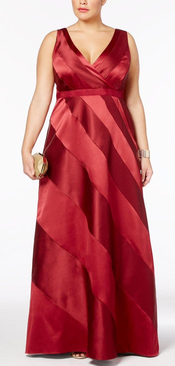 Plus Size Satin Striped Ball Gown - Plus Size Party Dress