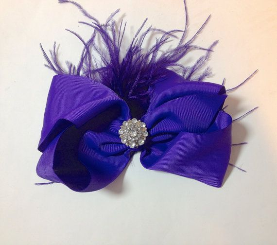 Dance Competition Hair Piece Purple Cheer Hair Bow by FancyGirlBoutiqueNYC