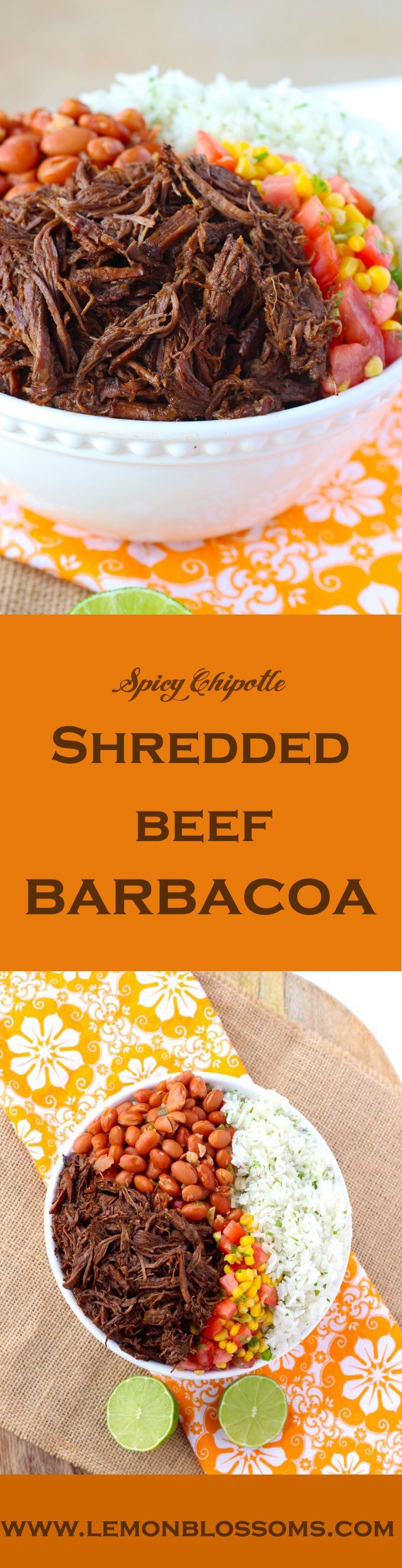 Slow braised until tender, spicy chipotle shredded beef barbacoa is delicious and perfect for burritos, burrito bowls and Tex-Mex salads. #copycat #chipotle #shreddedbeef #barbacoa #copycatrecipe