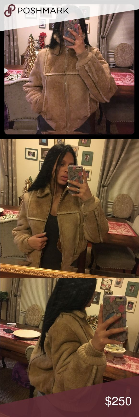 fur shearling winter bomber coat really warm for winter beautiful cool coat that can b dressed in a boho or edgy fashion. bomber style Jackets & Coats
