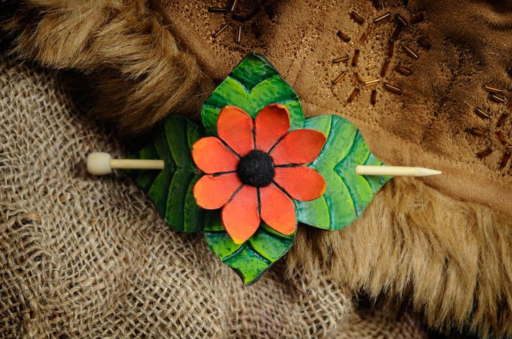 Leather flower hairpin