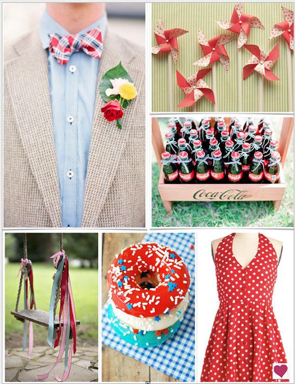 Vintage Red White & Blue Fourth of July Wedding Inspiration Board #wedding #weddinginspiration #vintage #red #white #blue #green #yellow #summer #FourthofJuly #July #fun #heartloveweddings