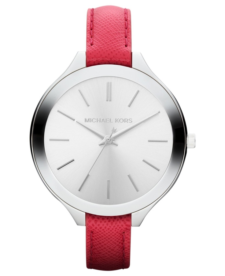 Michael Kors Watch, Women's Slim Runway Pink Leather Strap... Not sure I love the color of the band, but the style is perfect