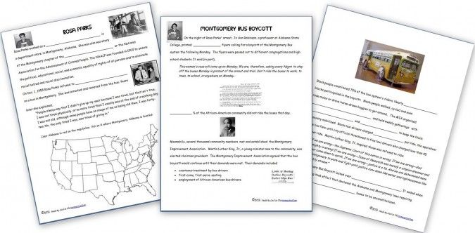 Free Notebook Pages: Rosa Parks and the Montgomery Bus Boycott  | Free Homeschool Deals ©