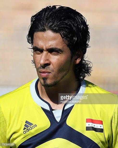 Iraqi goalkeeper Ahmed Jaber attends the West Asian Football Federation Championship match between Iraq and Palestine in the Jordanian capital Amman...