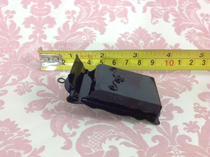 Dollhouse Miniature Home/Garden Vintage Large Black Metal Mailbox Openable 1:6 | eBay