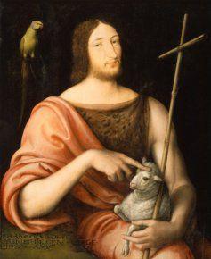 Jean Clouet: François 1° en saint Jean Baptiste, 1518; huile sur panneau 96,5+79 cm, Paris, musée du Louvre. - Don de Guy Wildenstein, président de la Galerie du même nom (le plus célèbre marchand d'art du monde), et son frère Alec. Ce panneau, signé et daté de 1518, est connu depuis les années 1970 et est passé en vente à Londres chez Christie's en 1980. Il montre l'influence de Léonard sur le peintre de la Cour.