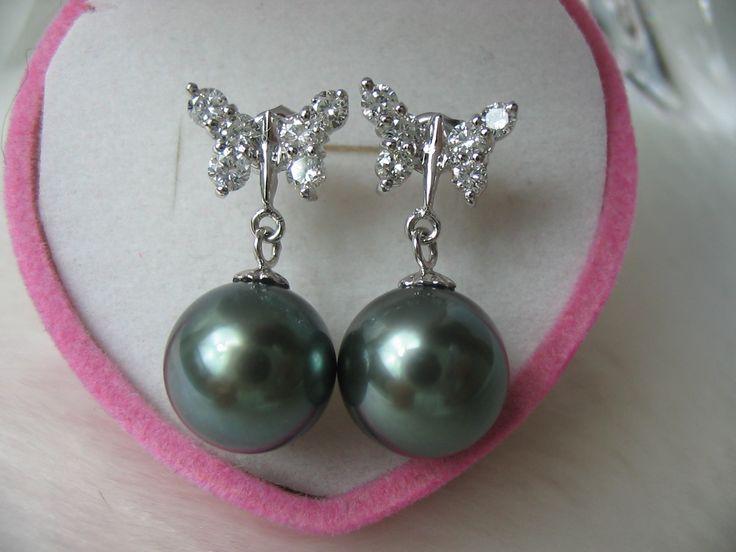 Black Pearl Earrings, HUGE GEM QUALITY DIAMOND BLA…