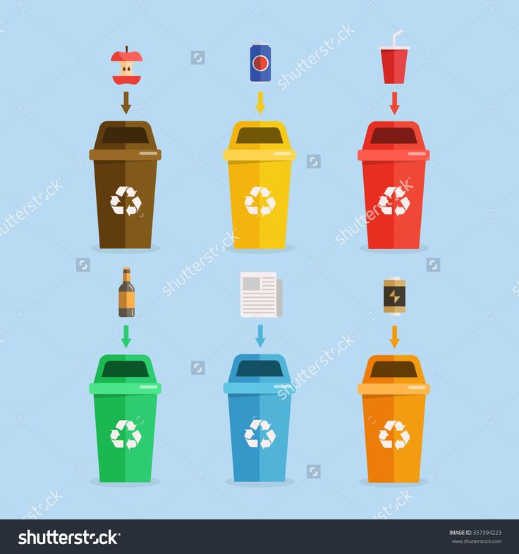 Waste management concept illustration. Waste segregation. Separation of waste on garbage cans. Sorting waste for recycling. Disposal waste. Colored waste bins with trash.